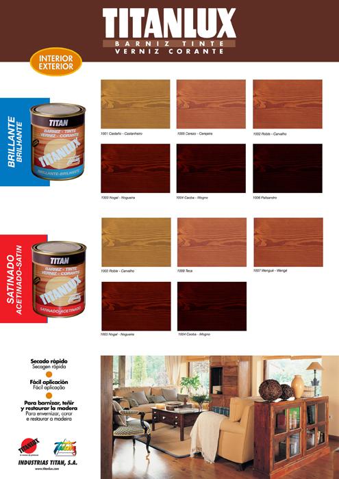 Barniz titanlux tinte brillante tienda de pinturas online - Barniz para madera colores ...
