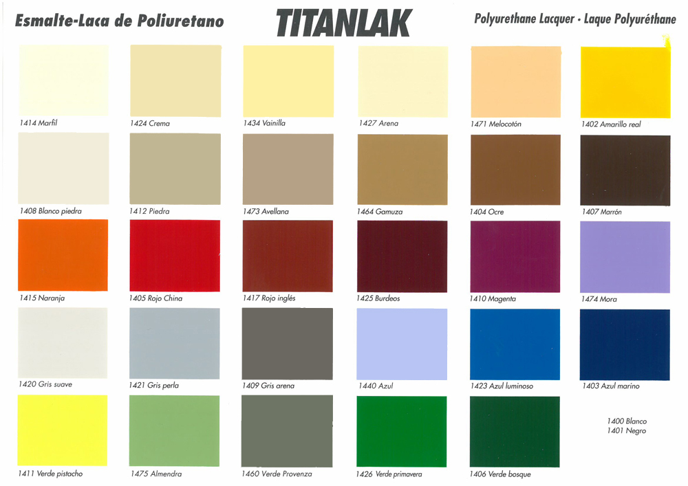 Titanlak blanco y colores tienda de pinturas online for Gama colores pintura