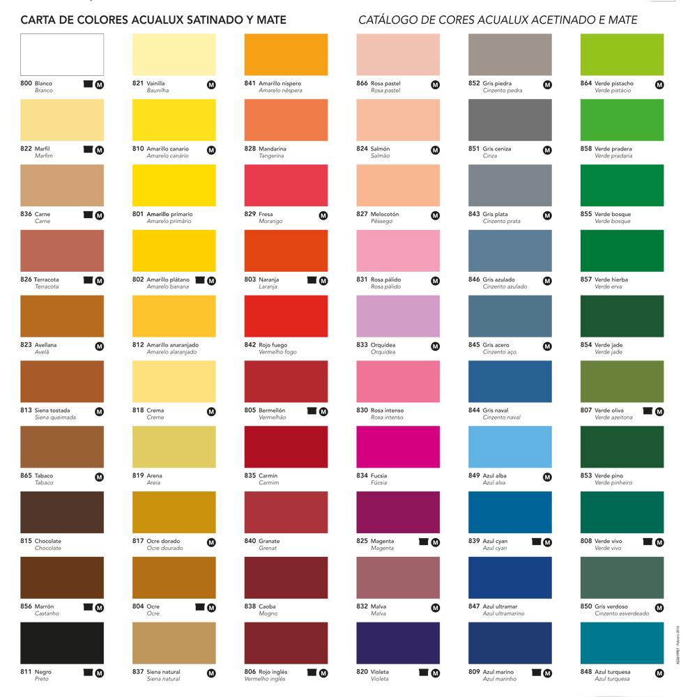 Acualux satinado tienda de pinturas online for Catalogo de colores de pinturas